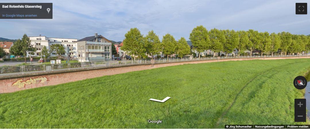 Google-StreetView-Gaggenau-Murg-Ufer-Glasersteg Panoramen